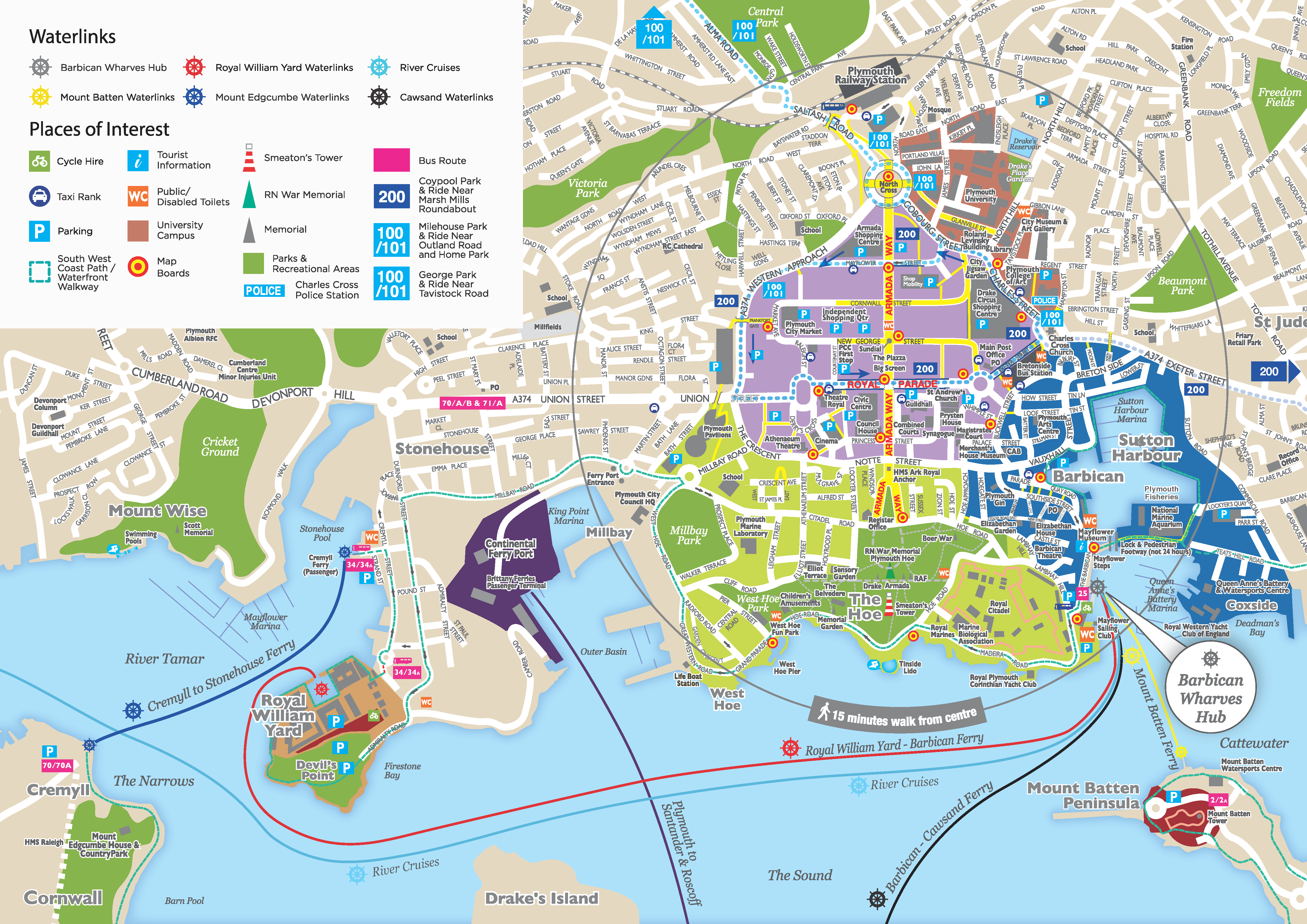 Visit Plymouth City Map